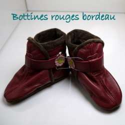 Bottines rouges bordeau 12-18 mois