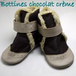 Bottines chocolat crème 12-18 mois